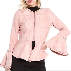 Fanco Jackets & Coats - Deep Blush Pink Faux Suede Jacket